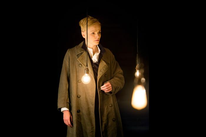 Maxine Peake as Hamlet in HAMLET at the Royal Exchange Theatre. image credit Jonathan Keenan