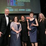 image of THE Awards - Rory Bremner, Michelle Castelletti, Fiona Stuart, Linda Merrick, Anita Taylor (Chair of Council for Higher Education in Art and Design)