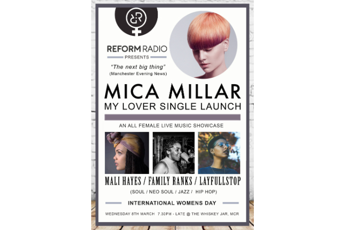 Reform Radio's International Women's Day Showcase poster