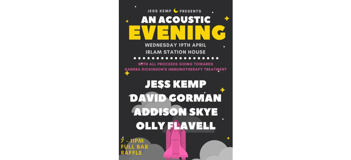 Jess Kemp plays charity showcase at Irlam Station House