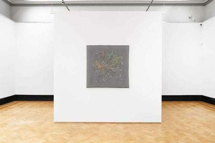 "Installation View – Study 432, 2017 44""x 44"" Embroidery on Organdy.  image courtesy Touchstones Rochdale / White Cube"