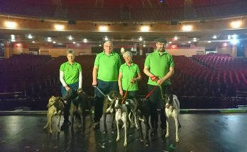 Graham Auld and members of Greyhound Trust Mersey and Cheshire with Louis Lenny and friends