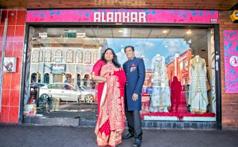 Handlooms writer Rani Moorthy and Alankar owner Dilip Modhar - image credit Anthony Robling
