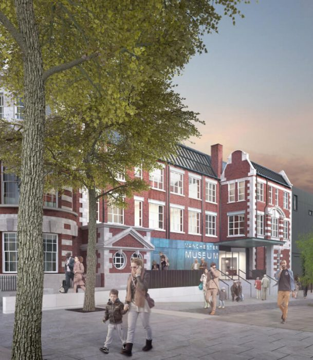 Oxford Road approach to Manchester Museum's proposed entrance, credit: Purcell UK