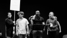 Olly Dobson, Cedric Neal and Rosanna Hyland in rehearsals for Back to the Future The Musical, credit Sean Ebsworth Barnes