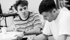Olly Dobson and Hugh Coles in rehearsals for Back to the Future The Musical, credit Sean Ebsworth Barnes