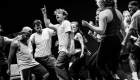 Olly Dobson (centre) and the company in rehearsals for Back to the Future The Musical, credit Sean Ebsworth Barnes