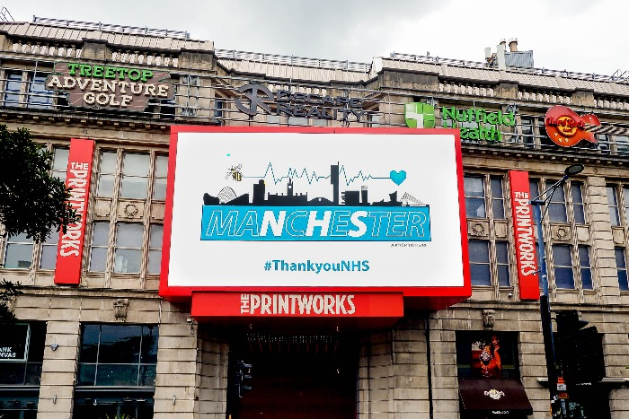 Manchester's Printworks partner with artist Justin Eagleton to show support for the NHS