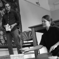 Danny Solomon and Hannah Ellis Ryan rehearse Hello and Goodbye - image courtesy RusbyMedia